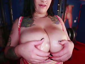 Bbw, Big tits, Brunettes, Busty, Gym, Oiled, Tattoo, Tits