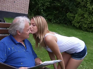 Blowjob, Hardcore, Old, Old and young, Old man, Outdoor, Small tits, Tease, Teens