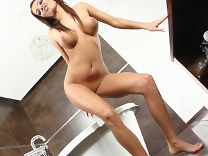 Ass, Big tits, Brunettes, Busty, Fingering, Long hair, Pink, Pussy, Sex toys, Sexy, Solo, Spreading