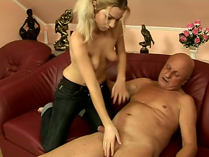 Blondes, Jeans, Old and young, Old man, Rimjob, Shaving, Small tits, Tattoo, Teens
