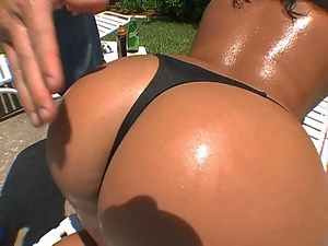 Ass, Babes, Brunettes, Busty, Massage, Oiled, Outdoor, Pool, Thong