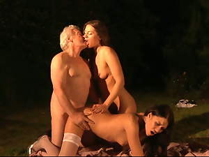 Ass, Brunettes, Busty, Doggystyle, Ffm, Fingering, Fucking, Garden, Long hair, Old, Pussy, Teens