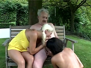 Blondes, Blowjob, Brunettes, Face fucked, Hardcore, Old and young, Outdoor, Pigtail, Threesome, Young