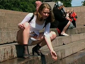 Blowjob, Brunettes, Fingering, Holiday, Outdoor, Public, Reality, Russian, Schoolgirl uniform, Teens