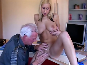Big tits, Blondes, Busty, Doggystyle, Fingering, Hardcore, Missionary, Nipples, Old and young, Old man, Riding, Teens