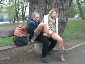 Blondes, Busty, Clothed sex, Hardcore, Old man, Outdoor, Public, Pussy, Reality, Riding, Stockings