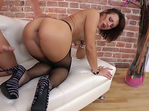 Anal, Ass, Ass fucking, Brunettes, Busty, Doggystyle, Long hair, Nylon, Pantyhose, Pussy