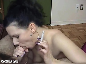 Blowjob, Brunettes, Cigarette, Cumshots, Smoking, Titty fuck