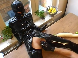 Dildo, Fetish, Gloves, Masturbating, Pvc, Rubber, Sybian