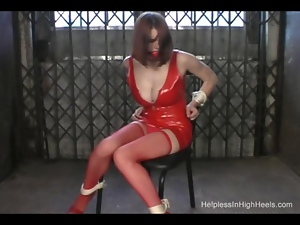 Babes, Bondage, Bound, Dress, Fetish, High heels, Latex, Redheads, Rubber, Stockings, Tied up