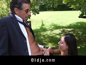 Blowjob, Brunettes, Cocksucking, Cumshots, Hardcore, Licking, Mature, Old, Old man, Outdoor, Teens