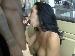 Blowjob, Brunettes, Fingering, Interracial, Kitchen, Sucking