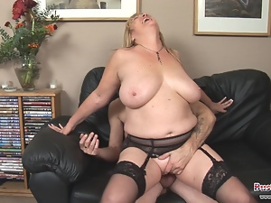 Big tits, Blondes, Cumshots, Doggystyle, Facials, Huge tits, Mature, Riding, Stockings, Titty fuck