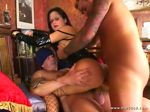 Anal, Brazilian, Cum, Double penetration, Fishnet, Group sex, Lingerie, Mmf
