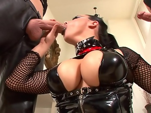 Blowjob, Cumshots, Facials, Fetish, Fishnet, Group sex, Hd, Mmf, Pvc, Rubber, Stockings, Sucking, Threesome