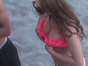 Beach, Big tits, Cleavage, Voyeur