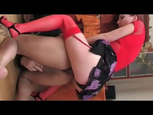 Fucking, Redheads, Russian, Sex toys, Stockings, Strapon