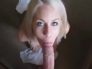 Babes, Blondes, Blowjob, Facials, On her knees, Tits