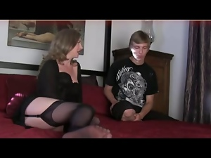 Caught, Handjob, Milf, Mom, Stockings