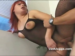 Ass, Big tits, Bodystocking, Fishnet, Pounded, Pussy, Redheads