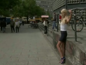 Blondes, Deepthroat, Humiliation, Public, Tied up, Tits