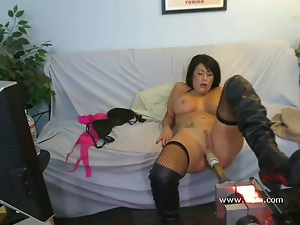Busty, Machine sex, Masturbating, Stockings, Webcam