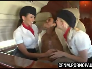 Babes, Blowjob, Cfnm, Clothed sex, Fucking, Nude, Stewardess, Uniform