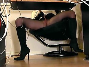 Desk, Masturbating, Office, Pantyhose
