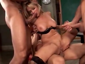 Blondes, Classroom, Double penetration, Gangbang, Stockings