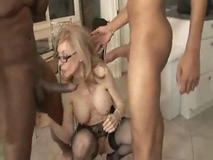 Big cock, Black, Blondes, Blowjob, Fucking, Glasses, Home, Interracial, Mature, Stockings, White