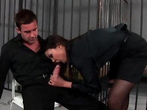 Blowjob, High heels, Prison, Satin, Stockings