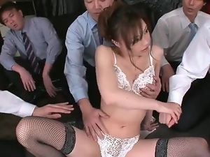 Fondling, Japanese, Pussy, Small tits, Stockings