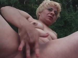 Blondes, Dildo, Fucking, Huge, Mature, Outdoor, Pussy