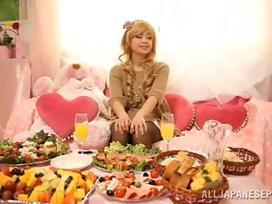 Asian, Blondes, Food, Japanese, Long hair, Pantyhose, Reality