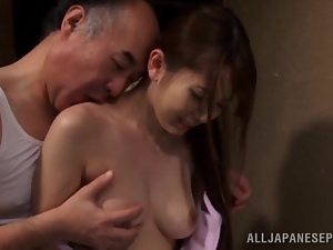 Asian, Couple, Fucking, Japanese, Long hair, Natural boobs, Old, Old and young