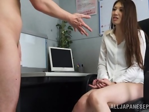 Asian, Cfnm, Couple, Cumshots, Japanese, Long hair, Masturbating, Mouthful, Office, Reality