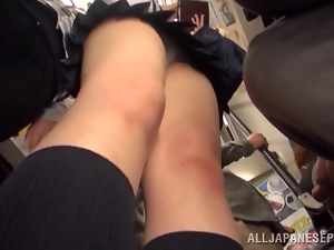Asian, Bus, Fucking, Japanese, Panties, Public, Reality, Schoolgirl uniform, Street, Uniform, Upskirt, Voyeur