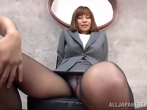 Asian, Footjob, Japanese, Miniskirt, Office, Pantyhose, Short hair, Uniform