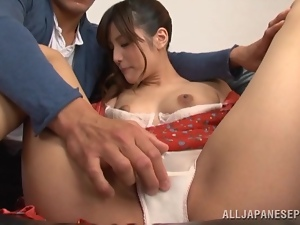 Adorable, Asian, Bra, Couple, Drilled, Husband, Japanese, Natural boobs, Panties, Pussy, Small tits, Trimmed pussy