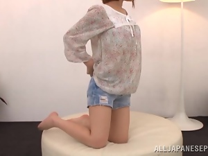 Asian, Ass, Cum, Dick, Japanese, Reality, Short hair, Shorts