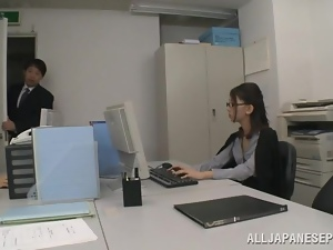 Asian, Dick, Glasses, Japanese, Lady, Office, Reality, Sucking, Swimsuit
