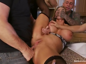 Anal, Big tits, Fake tits, Gangbang, Horny, Milf, Pounded, Rough