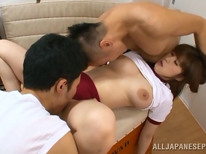 Asian, Big nipples, Big tits, Clothed sex, Dick, Fake tits, Group sex, Gym, Hardcore, Japanese, Mmf, Riding, Shorts, Sport, Sucking, Threesome
