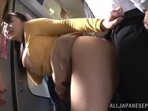 Asian, Big tits, Bus, Doggystyle, Fucking, Hardcore, Japanese, Long hair, Natural boobs, Public, Stranger