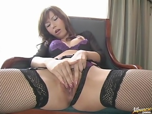Asian, Bitch, Bra, Fingering, Fishnet, Horny, Japanese, Masturbating, Panties, Stockings, Wet