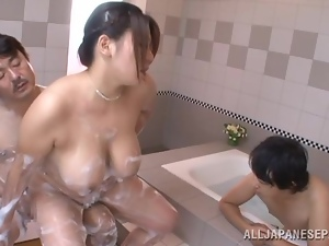 Asian, Bathing, Big tits, Bitch, Chubby, Drilled, Fat, Group sex, Hardcore, Japanese, Mmf, Natural boobs, Threesome, Wet
