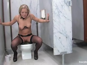 Blondes, Bra, Double penetration, Fetish, Kinky, Lingerie, Natural boobs, Nylon, Penetrating, Stockings, Toilet