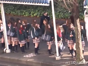 Asian, Blowjob, Bus, Fucking, Handjob, Japanese, Miniskirt, Natural boobs, Outdoor, Public, Reality, Schoolgirl uniform, Teens, Uniform, Upskirt