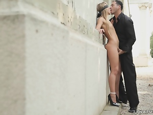Babes, Blindfolded, Blondes, Couple, Fingering, Fucking, High heels, Long hair, Natural boobs, Outdoor, Skinny, Small tits, Street