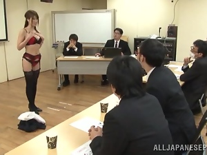 Asian, Dick, High heels, Japanese, Lingerie, Office, Public, Sucking
